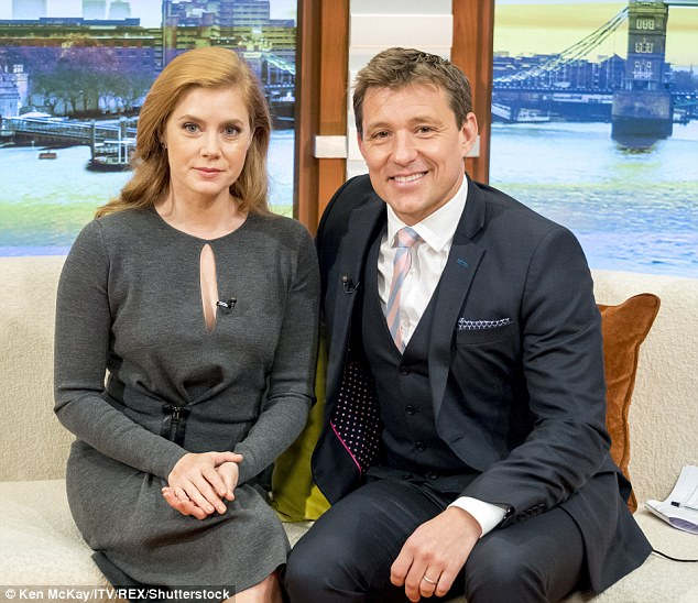 Say cheese: Amy posed for a photo with Good Morning Britain host Ben Shepard