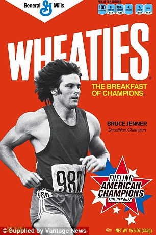 Golden: The athlete, who was born Bruce, became a spokesperson for the breakfast cereal in 1977 - a year after winning gold at the Olympic Games - and featured on the front of the brand's boxes