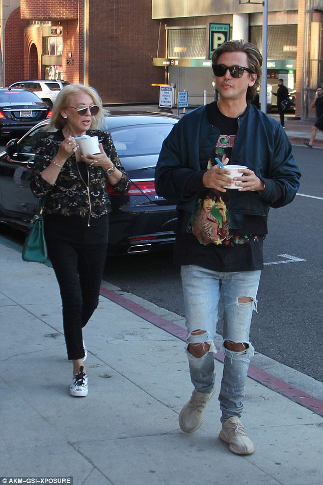 The good son: Jonathan Cheban took his mother Galina out for Greek frozen yogurt in Beverly Hills on Wednesday