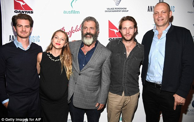 Astonishing comeback: Mel is making a comeback with Hacksaw Ridge, and is seen last week at a screening of it with (L-R) Andrew Garfield, Teresa Palmer, Luke Bracy and Vince Vaughn