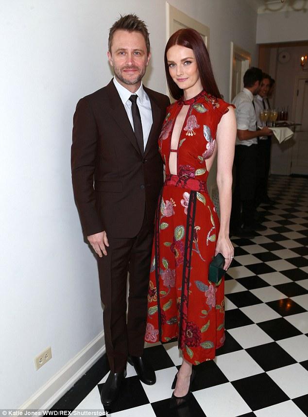 Happy couple:Lydia Hearst  was joined by Talking Dead host husband Chris Hardwick