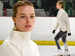 EXCLUSIVE: Margot Robbie arrives back to Los Angeles after a secret wedding to Tom Ackerley in Australia. The 26-year-old 'Wolf of Wall Street' actress took to the ice at a local indoor skating rink showing her moves on the twin blades this afternoon. The newlywed was dressed in a oversized white turtle neck sweater, black gloves, and black tights. Margot made laps around the rink looking very much like a seasoned professional.\nPlease byline:TheImageDirect.com\n*EXCLUSIVE PLEASE EMAIL sales@theimagedirect.com FOR FEES BEFORE USE