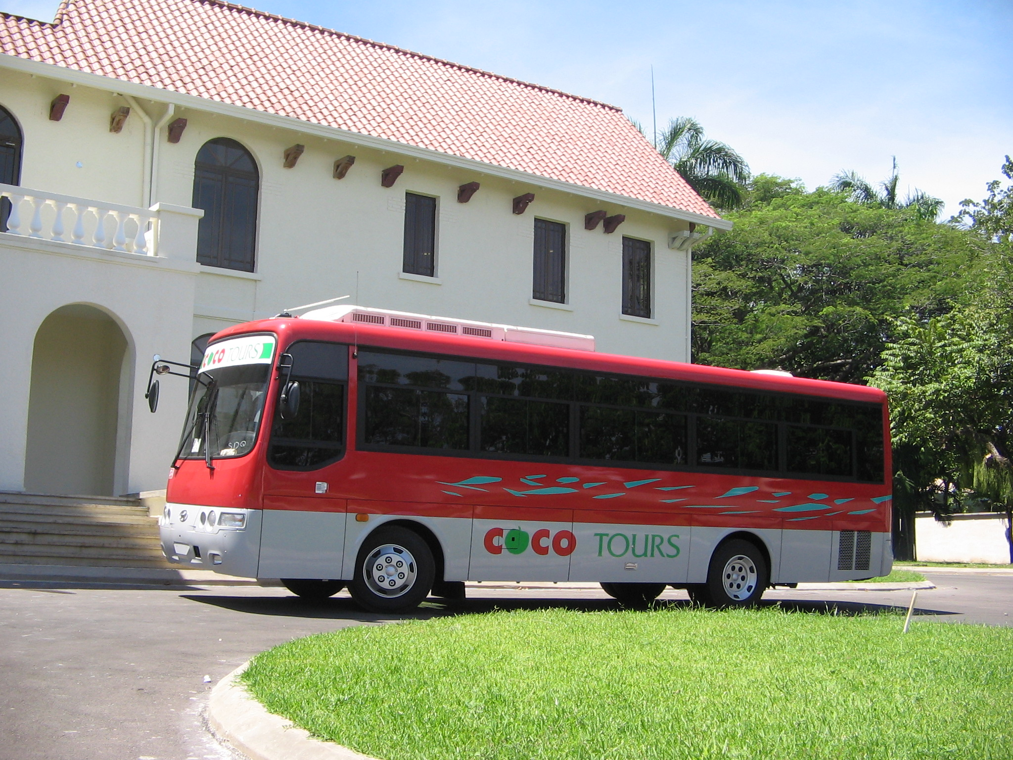 Larger Cocotours bus used on the route from Punta Cana to Samana
