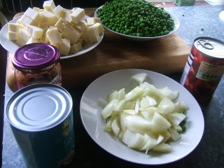 Mattar Paneer ingredients