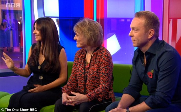 Showing her shape: The star - joined by Sir Chris Hoy (right) and Dame Esther Rantzen (left) - had a particular glow about her when she appeared on television, wearing a loose-fitting jumpsuit