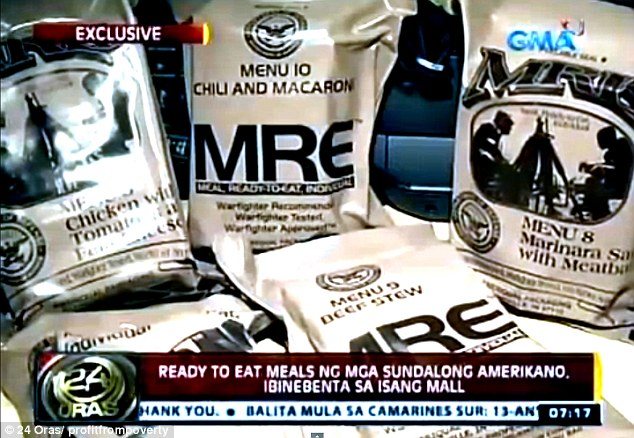 A television news report shows much-needed supplies on sale in affluent parts of the capital Manila
