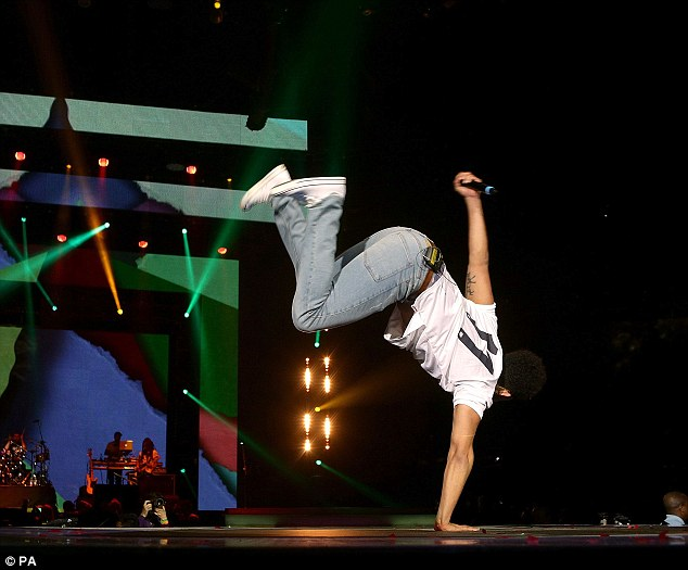 Impressive: Jordan Stephens showed off his gymnastic skills on stage