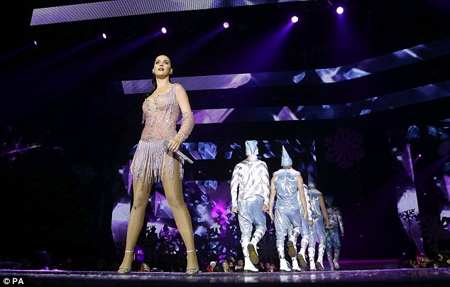 Shine bright: Katy's leotard also shimmered as she made her way about the stage