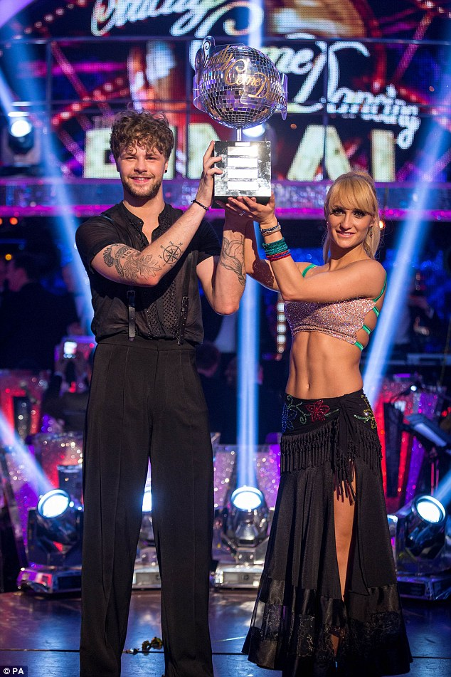 End on a high:Aliona quit hit BBC series Strictly Come Dancing last year - after winning the glitterball trophy with partner Jay McGuinness (above)