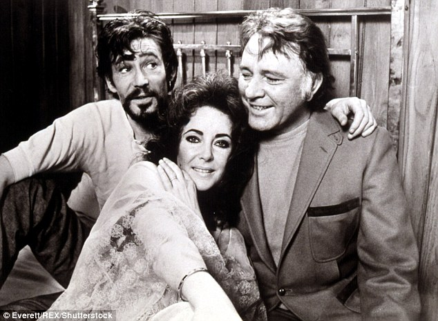 He was great friends and drinking buds with actors Richard Harris, his wife Elizabeth, and later Elizabeth Taylor and Richard Burton (pictured with Richard Burton and Elizabeth Taylor in an undated photograph)