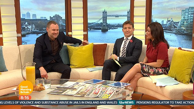 Hilarious: Ben Shephard was left hilariously red faced after he cheekily told singer David Gray he had the 'bigger tackle' between the pair