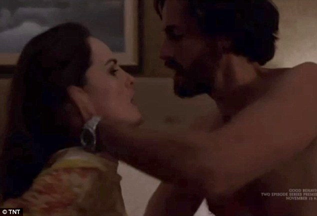 Kinky: Michelle can be seen in the throws of passion with charming hitman Javier (played by Juan Diego Botto) in one particularly steamy scene