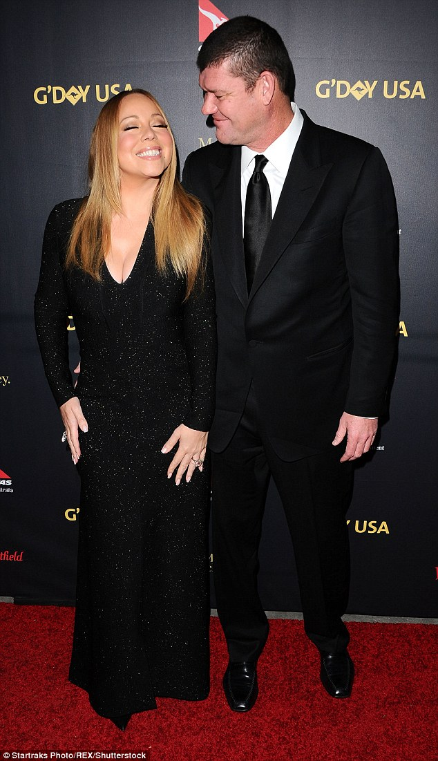 Better times: Carey and Packer looked like the happy duo on the red carpet of a gala in Los Angeles January 28