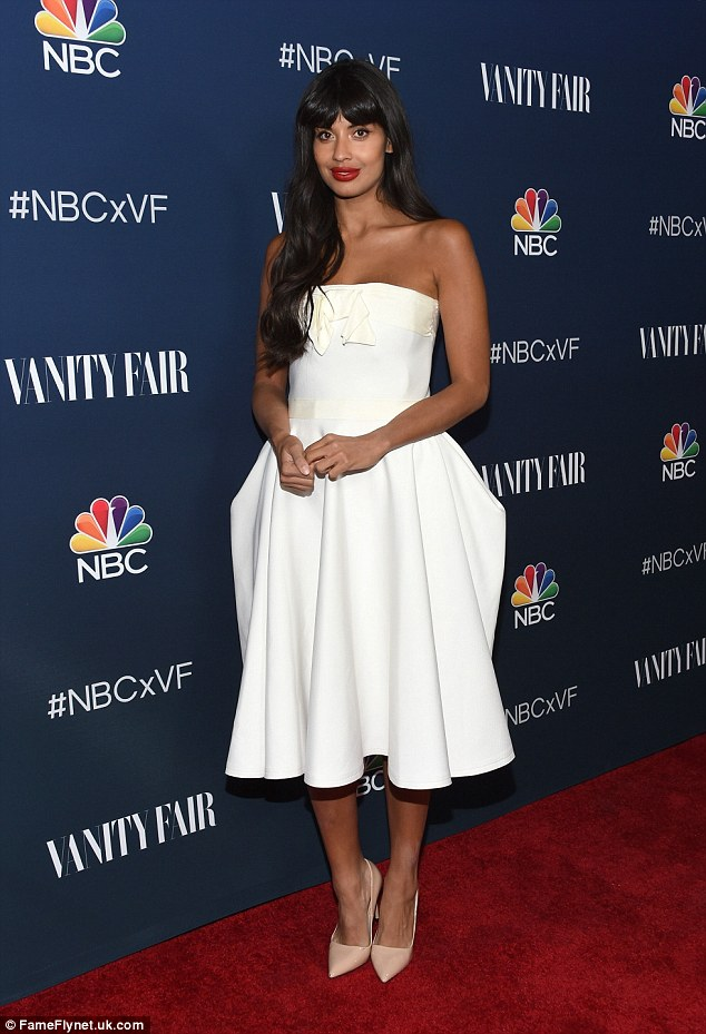 Surprising guest: British TV presenter Jameela Jamil showed off her sartorial sass in a pretty white dress which flaunted her statuesque frame