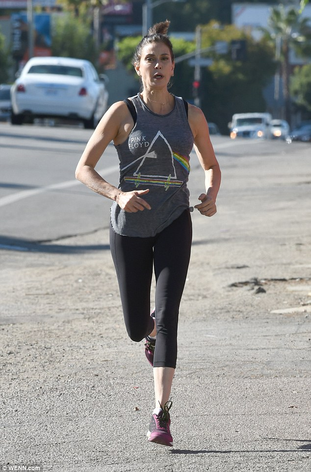 Stepping out: Teri Hatcher proved she's as fit as ever as she put herself through a punishing work out on Wednesday
