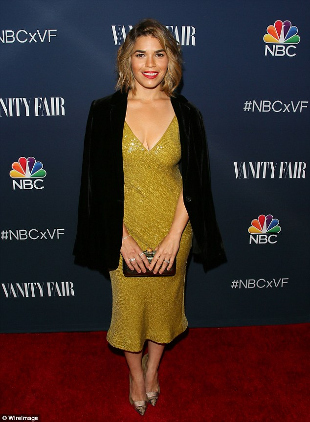 Bright future: America Ferrera was worlds away from her screen alter-ego as she attended the NBC and Vanity Fair  TV Season event at NeueHouse Hollywood in Los Angeles on Wednesday