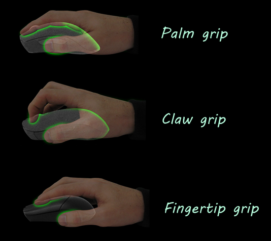 claw grip vs. palm grip