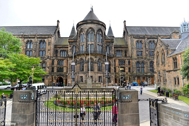 Falsification: Police found empty packets of Viagra in his car and a fake ID claiming he was student at Glasgow University (pictured). Prosecutors said he had driven 7,000 miles on a tour of university towns