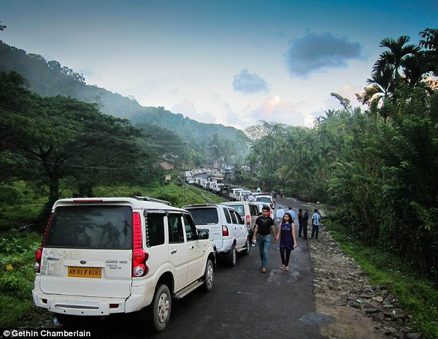 Busy: The tours are technically illegal, and sold under the pretext of a trip to a local cave, but police turn a blind eye in exchange for bribes