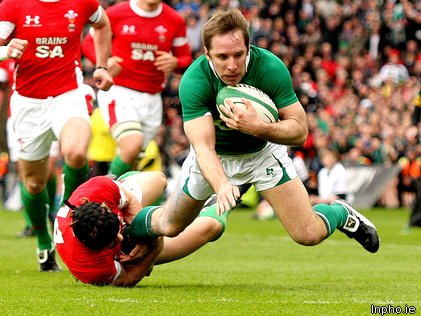 Man of the match Tomás O'Leary touched down in Ireland's victory over Wales at Croke Park