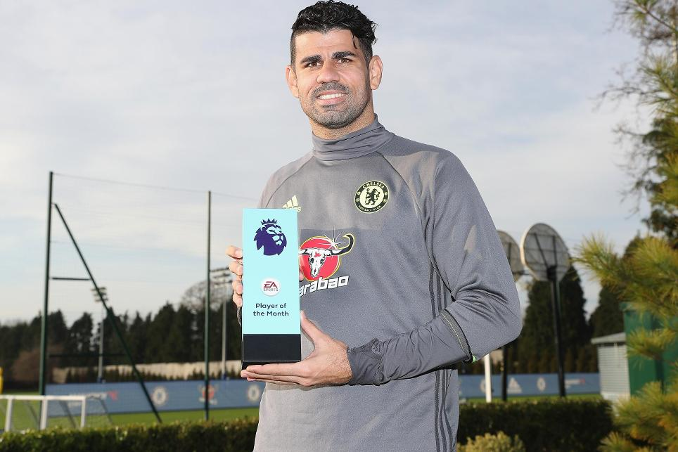 Diego Costa with November's EA SPORTS Player of the Month award