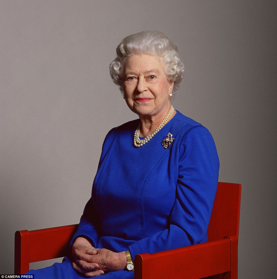 The Queen photographed at Snowdon's London studio  seated in a chair designed by Lord Snowdon for the Royal Investiture of the Prince of Wales in Caernarvon in April 2006
