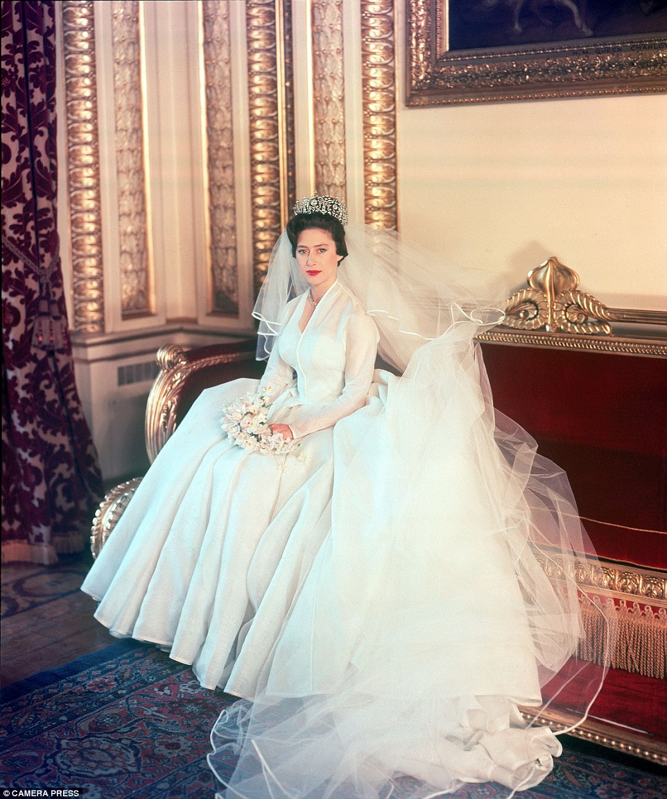 Photographs of his own wife also feature in his collection such as this stunning shot taken in 1960 of Princess Margaret on her wedding day