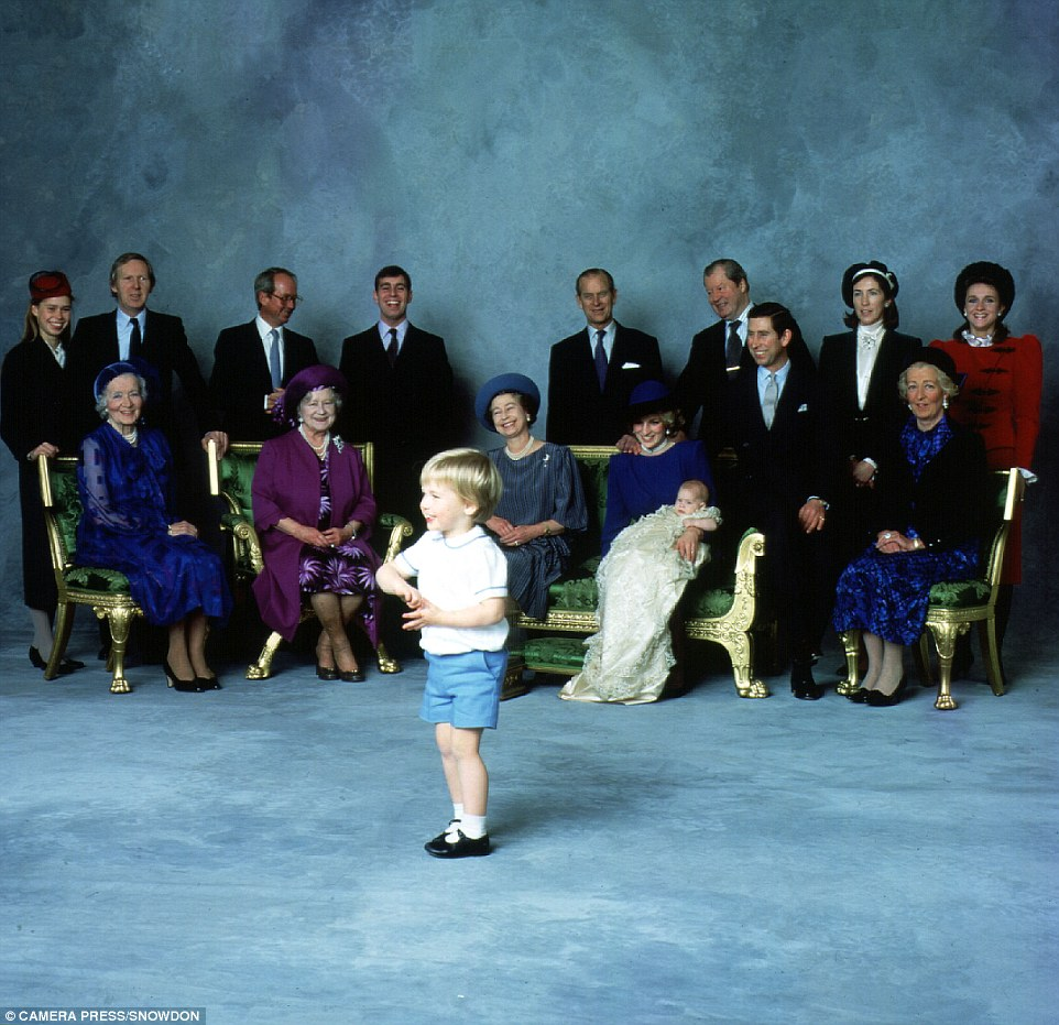 Lord Snowdon had a great skill for capturing the royal family at their most natural, as seen here where the relatives laugh as Prince William messes around during the official photographs following Harry's birth in 1984