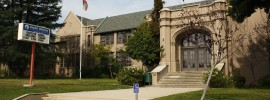 a picture of the front of a circa 1930's school building in Pasadena, CA