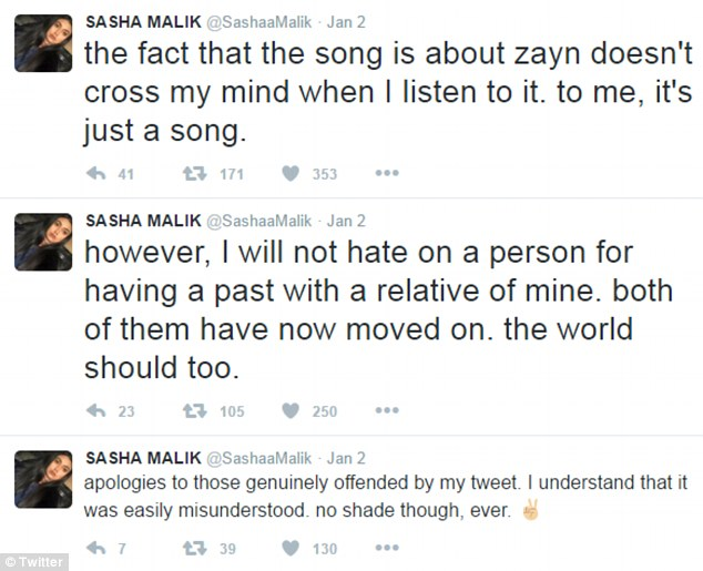 My side of the story: Sasha Malik took to Twitter on Monday to explain her stance on the song