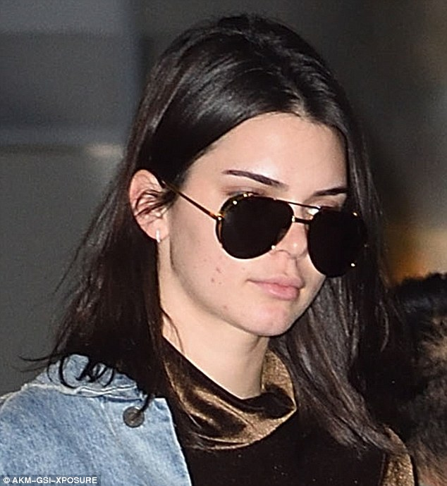 Exhausted: The jet set lifestyle appears to be taking its toll on Kendall Jenner, as she displayed the beginnings of a breakout in NYC on Thursday
