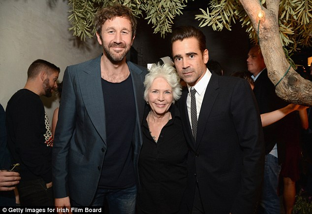 Moviestar: Chris (here with Fionnula Flanagan and Colin Farrell in 2016) is an Irish comic