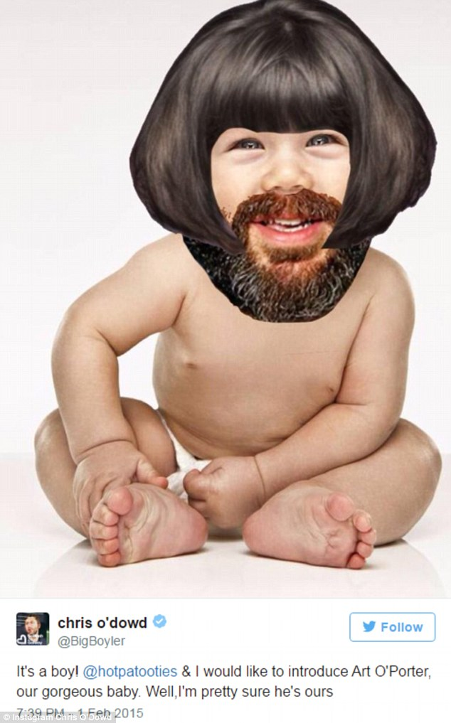 Joker: The couple have stayed quiet about their children, but this is the only 'picture' Chris has released of their son - joking about making an introduction in February 2015