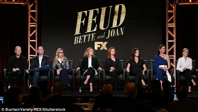 The gang's all here: Executive producer Ryan Murphy, far left, with his leading ladies and other cast and crew. Feud debuts on FX on March 5