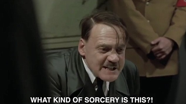 Made in the Rhineland: The Made In Chelsea star has taken a clip from a movie about the Nazis and captioned it with his own subtitles, taking his funniest swipe to date at his older sister and her hunky personal trainer lover