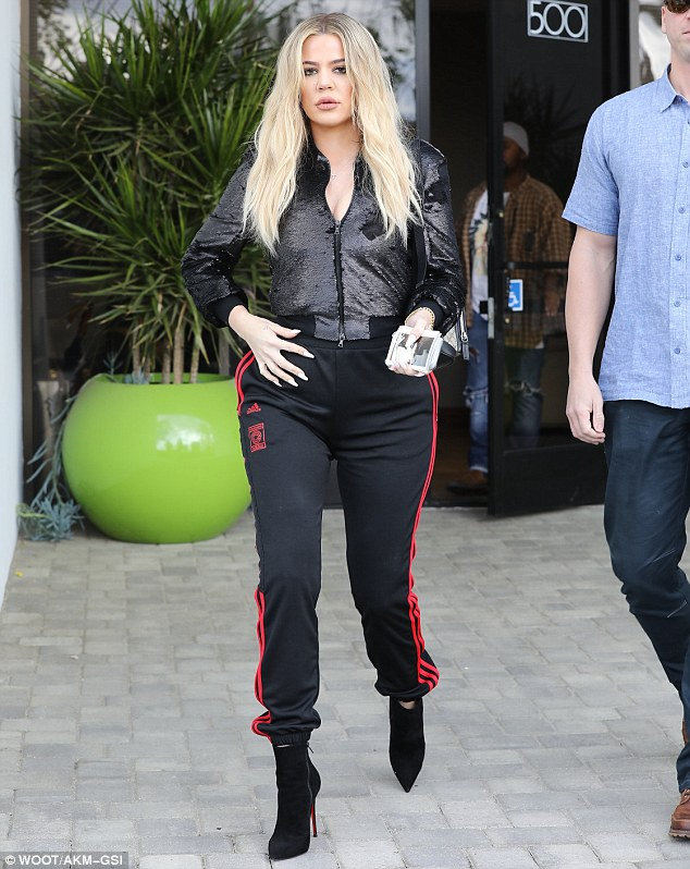 Stunner: The Revenge With Khloe star chose a sparkling bomber jacket to add a glam touch