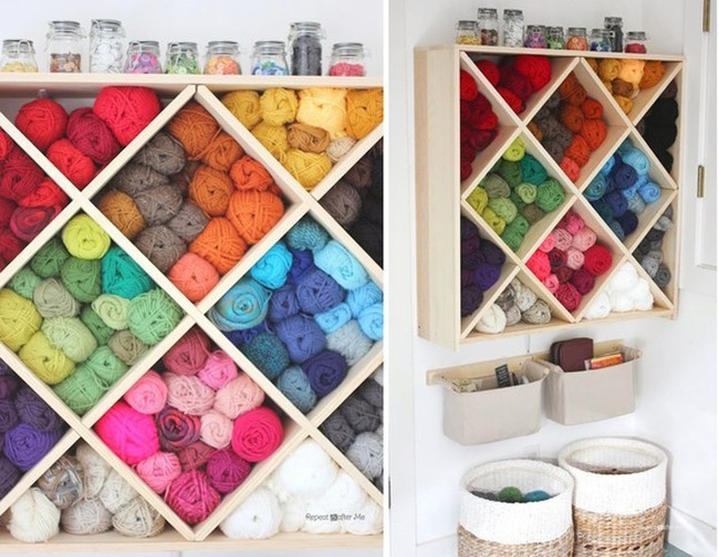 12. Use the wine rack in your basement to store your yarn