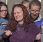 A distraught Rose Hunsicker, center, the biological mother of Grace Packer, is escorted to the church by members of her family and members of Bikers Against Child Abuse Monday, Jan. 16, 2017, on her way in to a memorial service for Packer, the local teen who who authorities say was killed and dismembered by her adoptive mother and her boyfriend, at the New Life Presbyterian Church in Glenside, Pa. (Ed Hille/The Philadelphia Inquirer via AP)