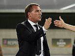 BORDEAUX, FRANCE - SEPTEMBER 17:  (THE SUN OUT, THE SUN ON SUNDAY OUT) Brendan Rodgers manager of Liverpool shows his appreciation to Jordan Rossiter at the end of the UEFA Europa League match between FC Girondins de Bordeaux and Liverpool FC on September 17, 2015 in Bordeaux, France.  (Photo by Andrew Powell/Liverpool FC via Getty Images)