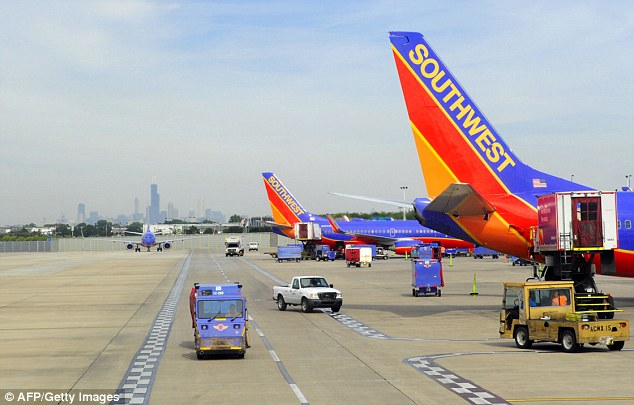 Another Southwest flight from Indianapolis to Los Angeles was diverted to Kansas City on Sunday (stock)