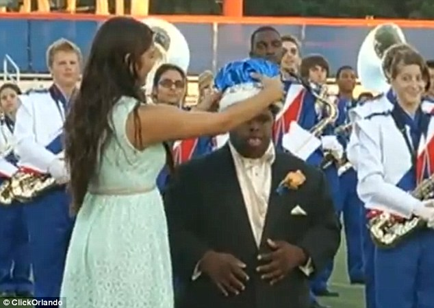 On Friday, Amy Van Bergen, executive director of the Down Syndrome Association of Central Florida, said: 'Bubba was just full of life, and he passed that joy along to everyone he met.' Above, Bubba being crowned