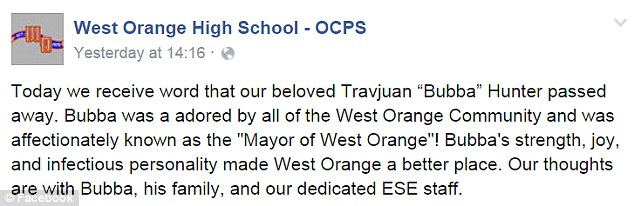 """School officials broke the tragic news of Bubba's passing in a Facebook post (above). 'Bubba was adored by all of the West Orange Community and was affectionately known as the """"Mayor of West Orange""""!' they wrote"""