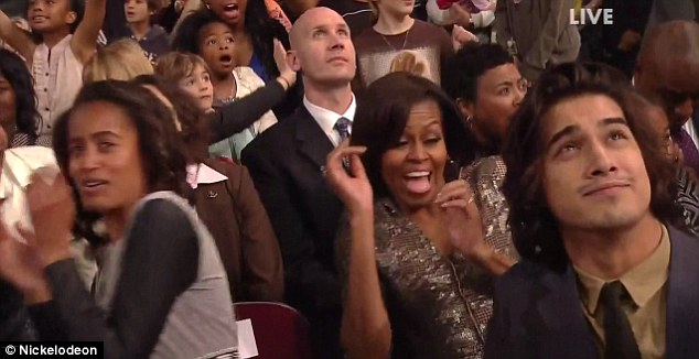 Look out! Not even the Secret Service could protect the first lady from getting splashed with Nickelodeon's trademark green slime