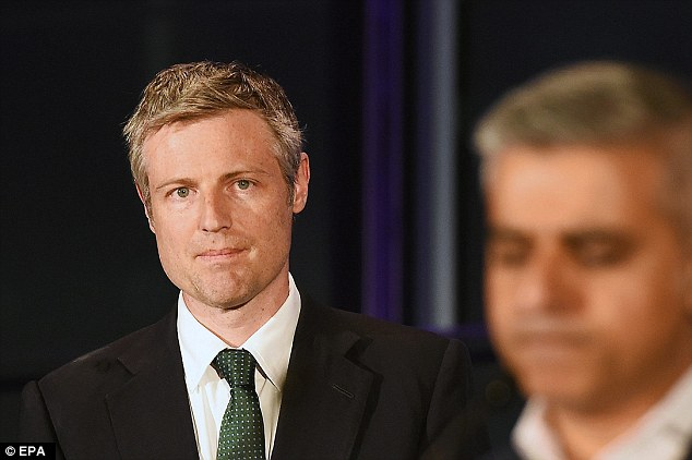 Mr Dean is alleged to have made the comments while canvassing for Zac Goldsmith, pictured moments after his landslide defeat to Mr Khan was confirmed