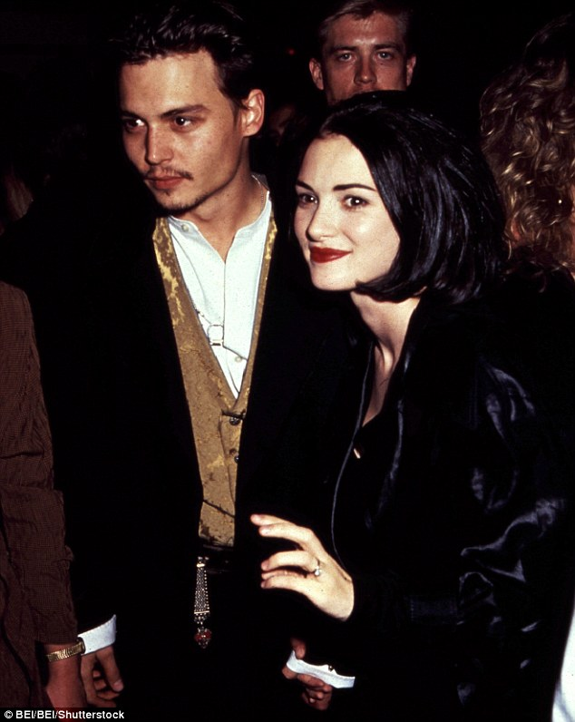The good ole days: The beauty with former fiance Johnny Depp in the early 1990s