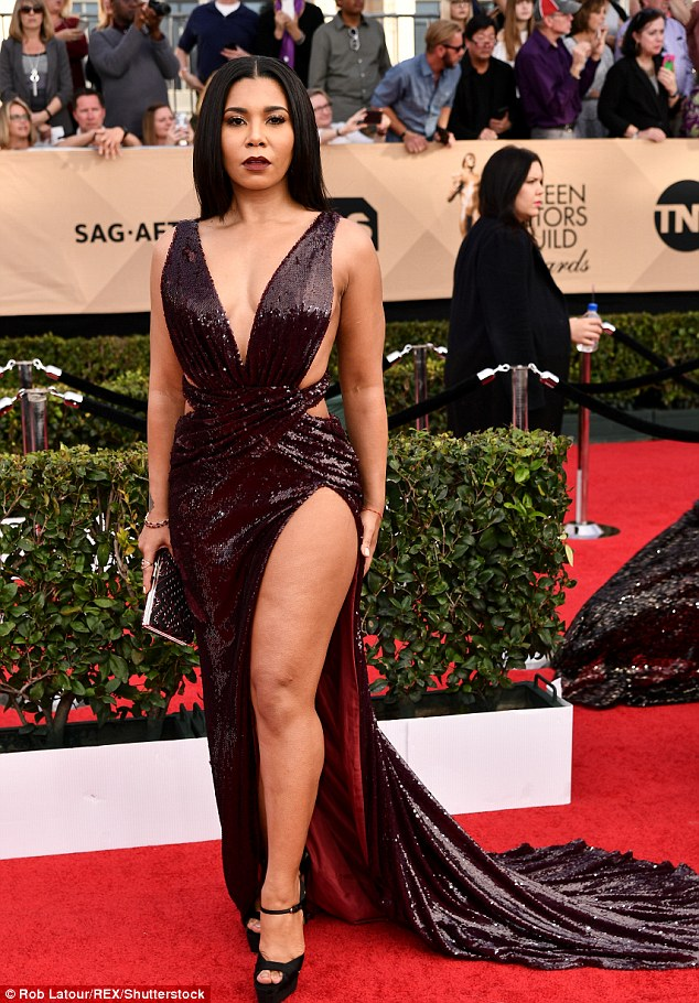 Bit too much? OITNB star Jessica Pimentel opted for a very sexy and super revealing sequin gown at Sunday's Screen Actors Guild Awards