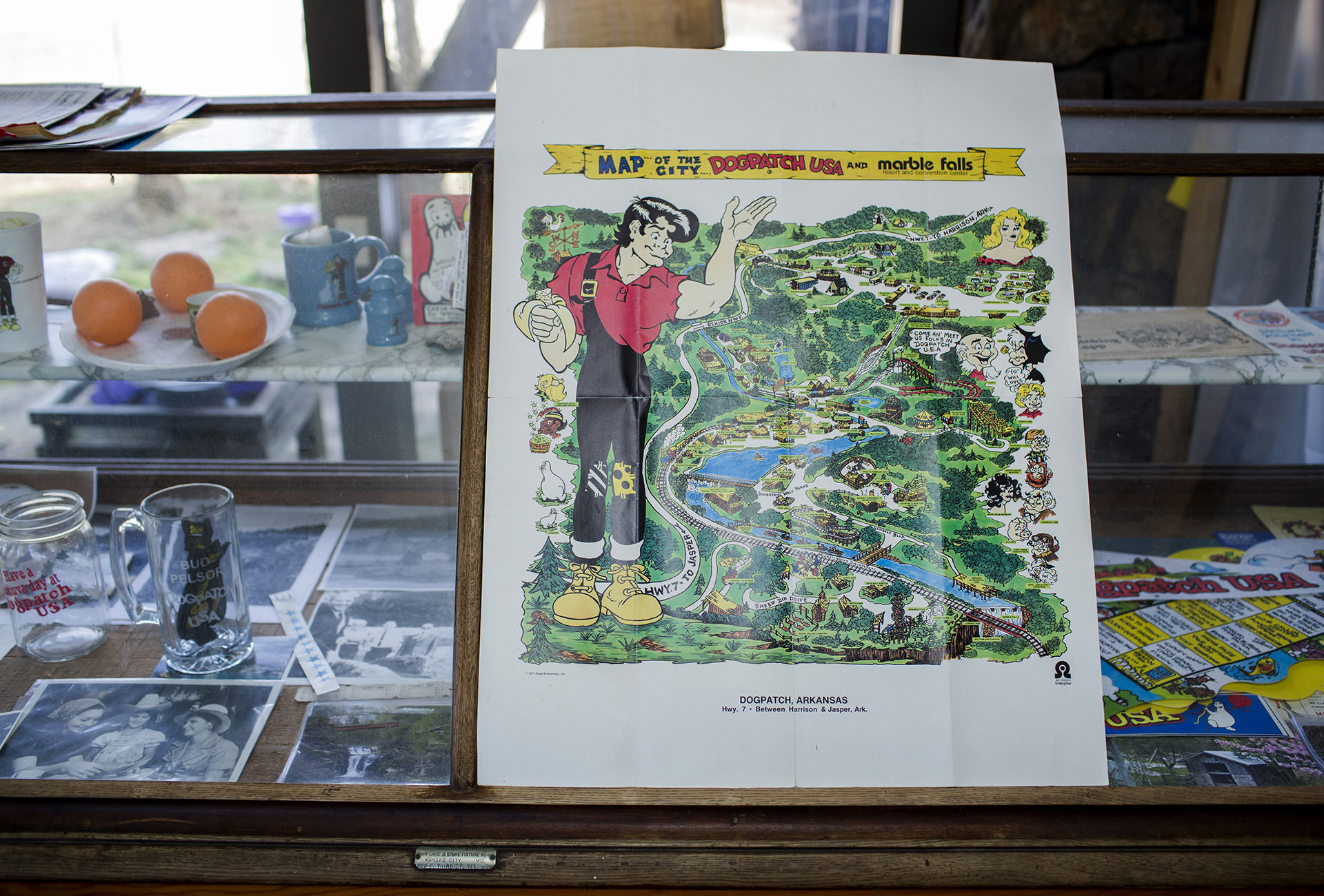 New owner Bud Pelsor has several items of park memorabilia in his home, including this comic-styled map of Dogpatch.