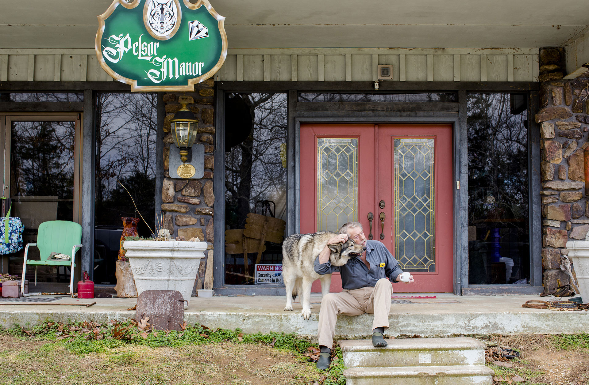 Bud Pelsor currently lives in the old ski lodge at Marble Falls with his dog Dia.