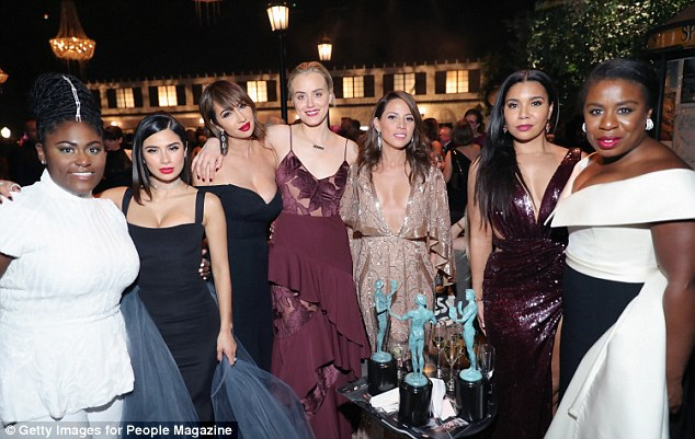 Winners: The New York native has starred in OITNB since 2013. She is pictured with some of her co-stars during the ceremony