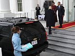 Donald Trump did not accompany his wife up the White House steps when arriving for the inauguration